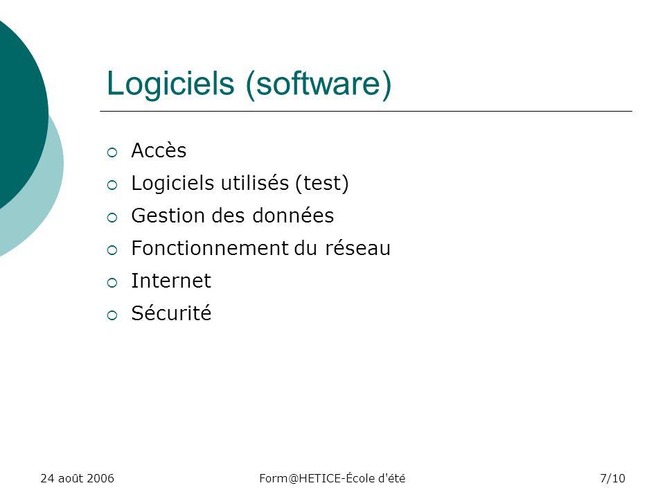24 août 2006Form@HETICE-École d été7/10 Logiciels (software) Accès Logiciels utilisés (test) Gestion des données Fonctionnement du réseau Internet Sécurité