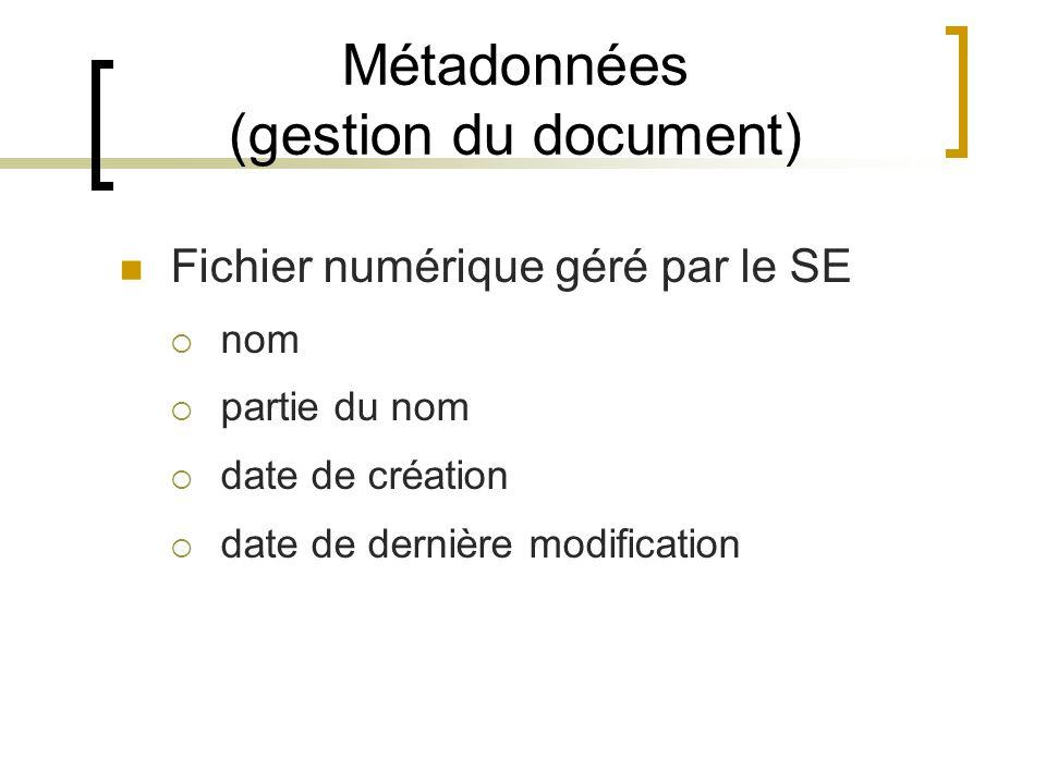 Métadonnées (gestion du document) Fichier numérique géré par le SE nom partie du nom date de création date de dernière modification