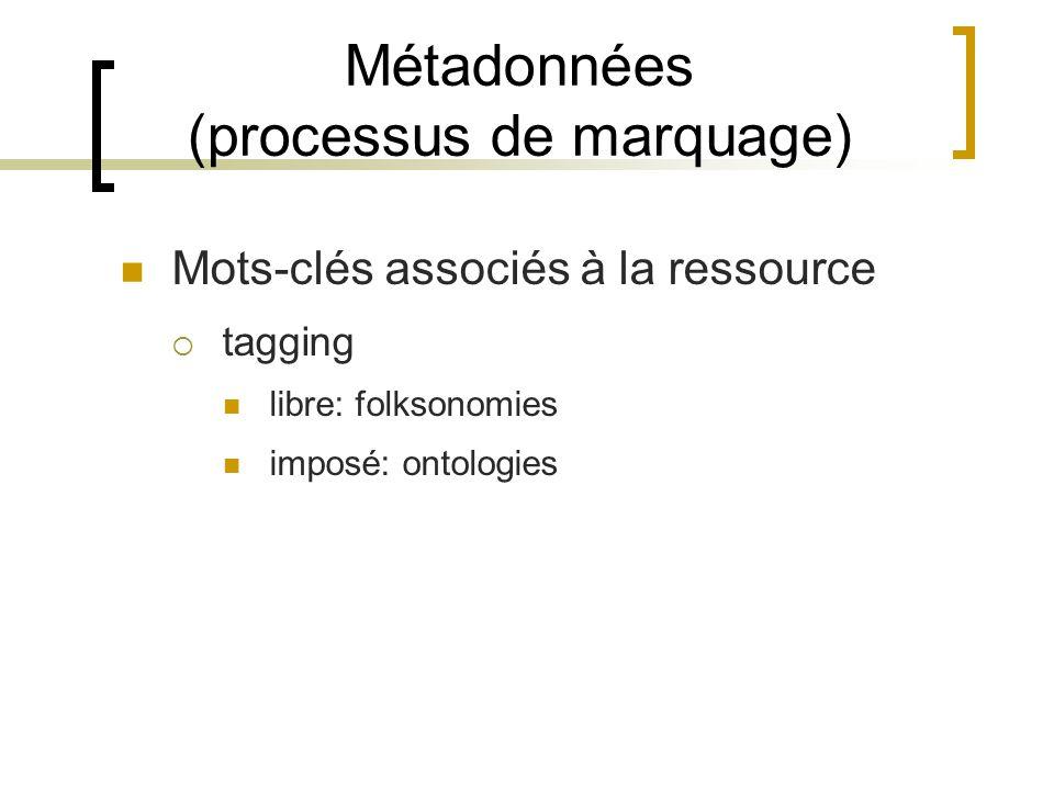 Métadonnées (processus de marquage) Mots-clés associés à la ressource tagging libre: folksonomies imposé: ontologies