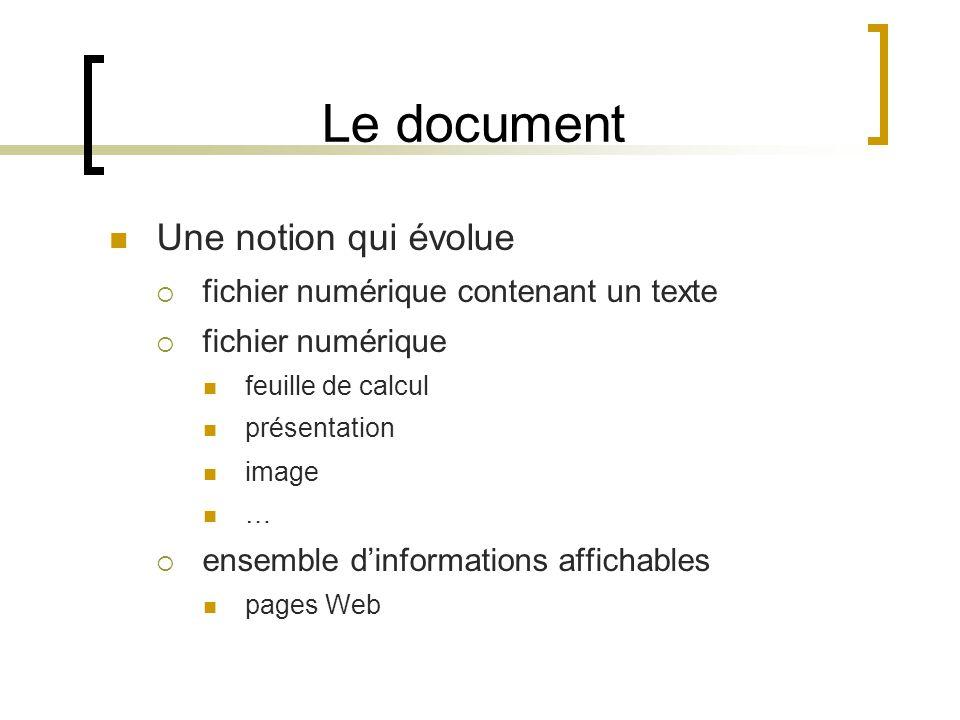 Le document Une notion qui évolue fichier numérique contenant un texte fichier numérique feuille de calcul présentation image … ensemble dinformations affichables pages Web