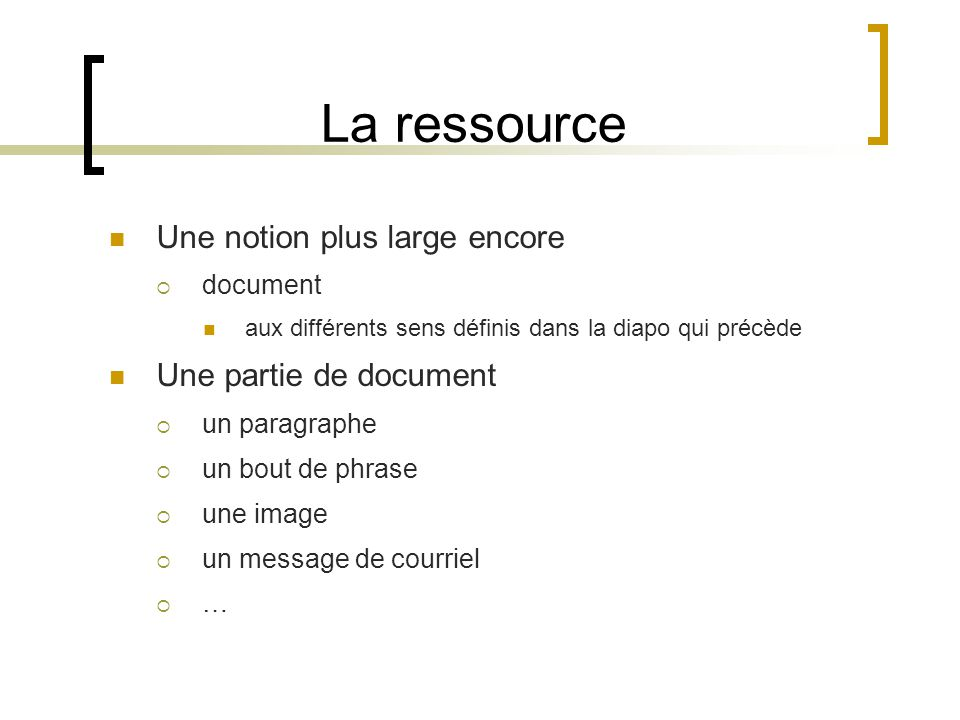 La ressource Une notion plus large encore document aux différents sens définis dans la diapo qui précède Une partie de document un paragraphe un bout de phrase une image un message de courriel …