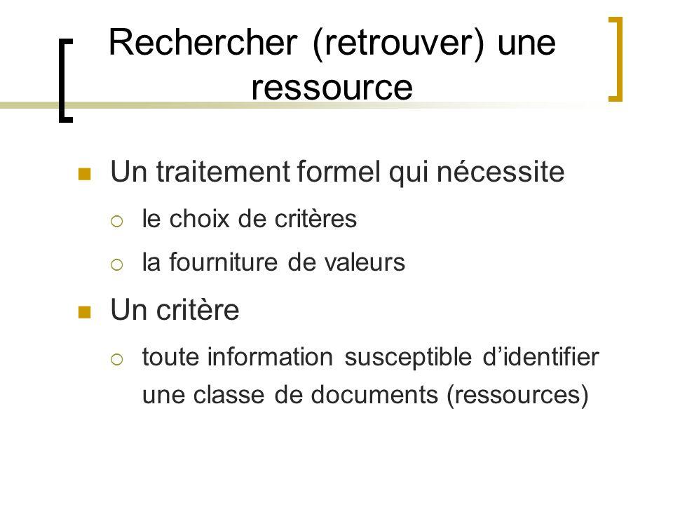 Rechercher (retrouver) une ressource Un traitement formel qui nécessite le choix de critères la fourniture de valeurs Un critère toute information susceptible didentifier une classe de documents (ressources)