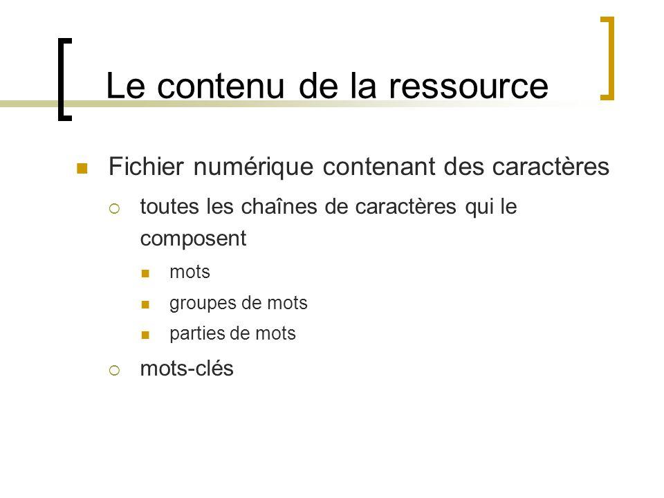 Le contenu de la ressource Fichier numérique contenant des caractères toutes les chaînes de caractères qui le composent mots groupes de mots parties de mots mots-clés