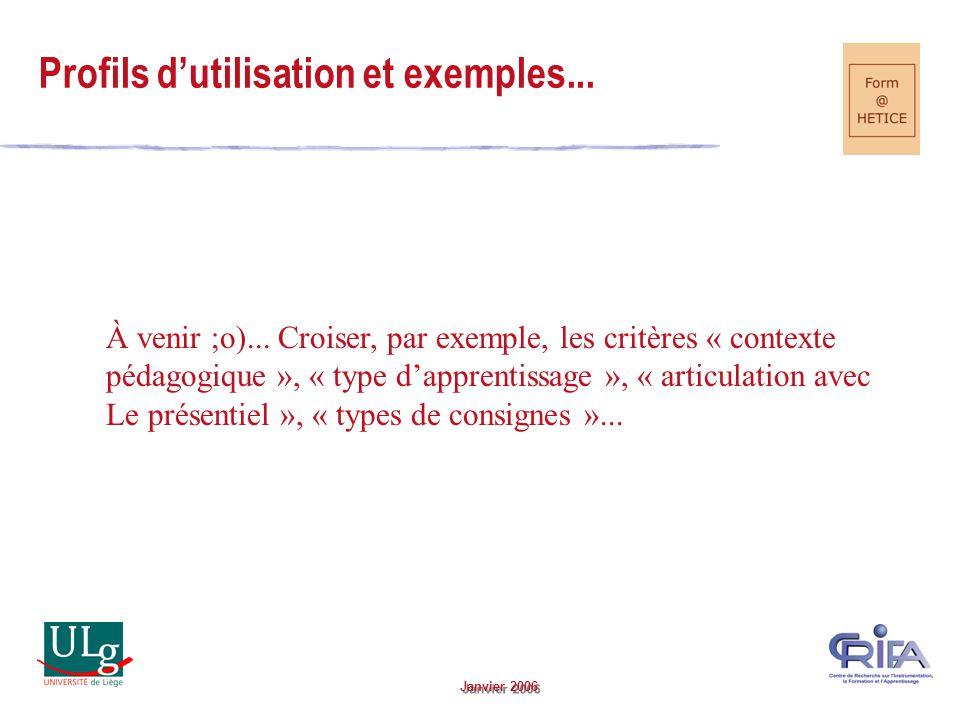 Janvier 2006 Profils dutilisation et exemples... À venir ;o)...