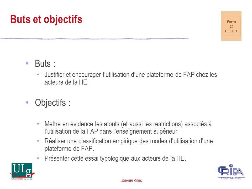 Janvier 2006 Buts : Justifier et encourager lutilisation dune plateforme de FAP chez les acteurs de la HE.