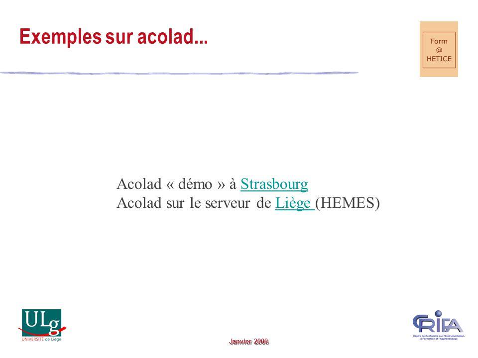 Janvier 2006 Exemples sur acolad...