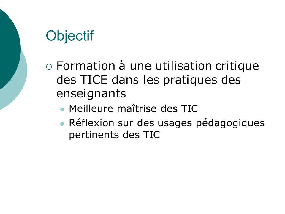 Objectif Formation à une utilisation critique des TICE dans les pratiques des enseignants Meilleure maîtrise des TIC Réflexion sur des usages pédagogi
