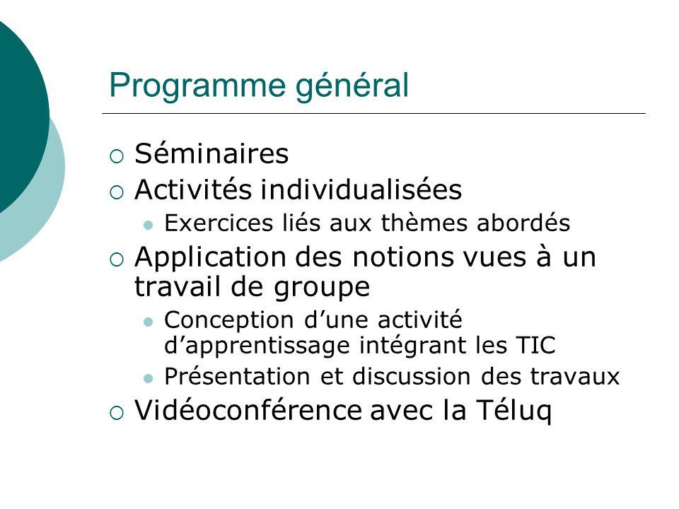 Programme général Séminaires Activités individualisées Exercices liés aux thèmes abordés Application des notions vues à un travail de groupe Conceptio