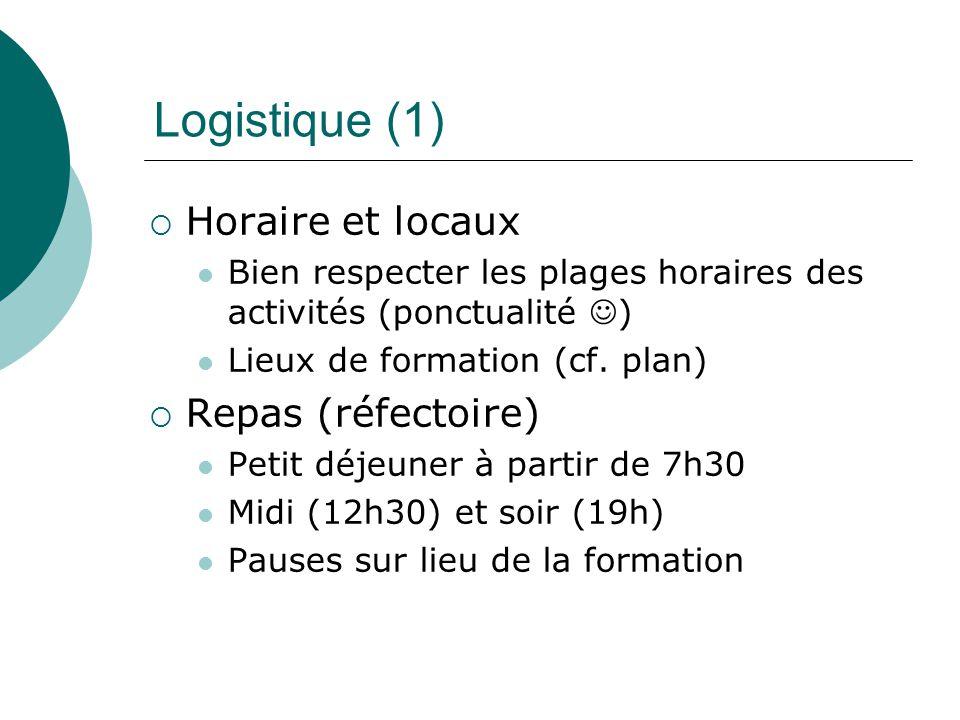 Logistique (1) Horaire et locaux Bien respecter les plages horaires des activités (ponctualité ) Lieux de formation (cf. plan) Repas (réfectoire) Peti