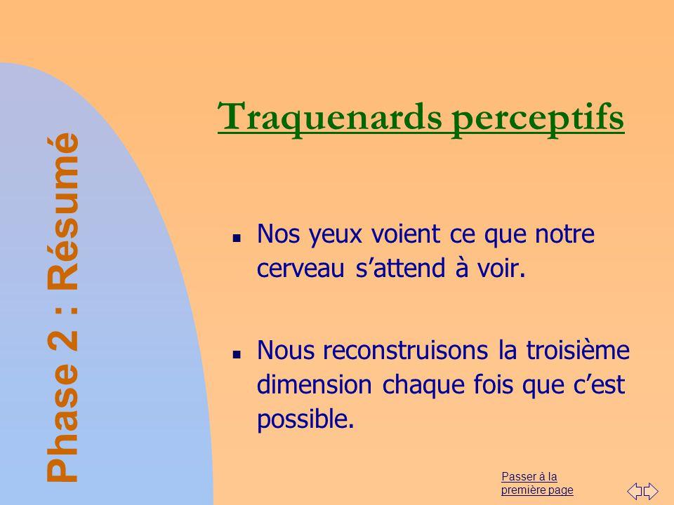 Passer à la première page Traquenards perceptifs n Nos yeux voient ce que notre cerveau sattend à voir. n Nous reconstruisons la troisième dimension c
