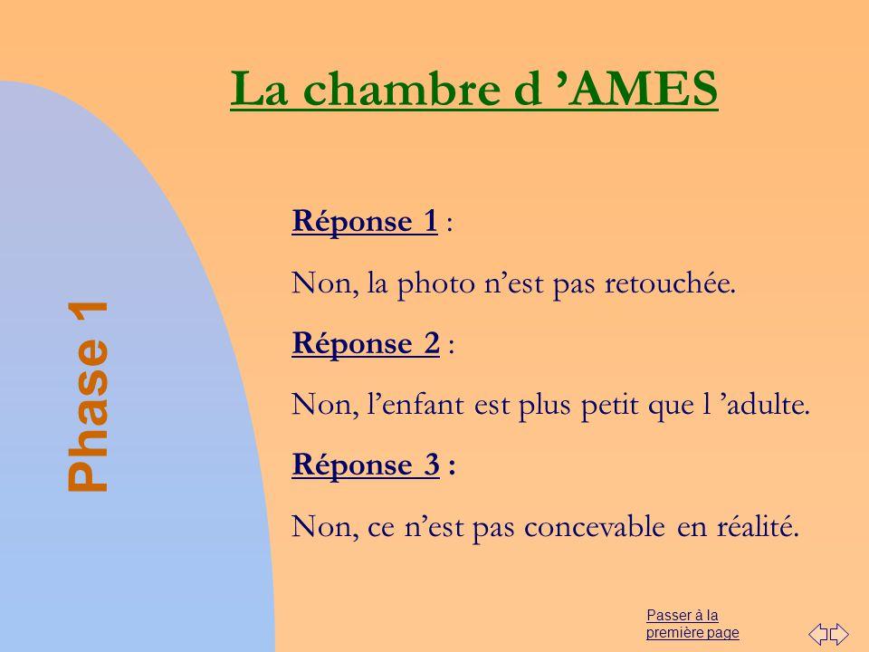 Passer à la première page La chambre d AMES Phase 1 Réponse 1 : Non, la photo nest pas retouchée. Réponse 2 : Non, lenfant est plus petit que l adulte