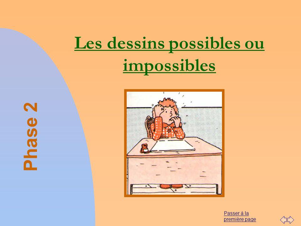 Passer à la première page Les dessins possibles ou impossibles Phase 2
