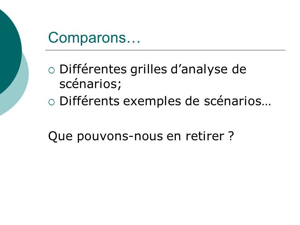 Comparons… Différentes grilles danalyse de scénarios; Différents exemples de scénarios… Que pouvons-nous en retirer