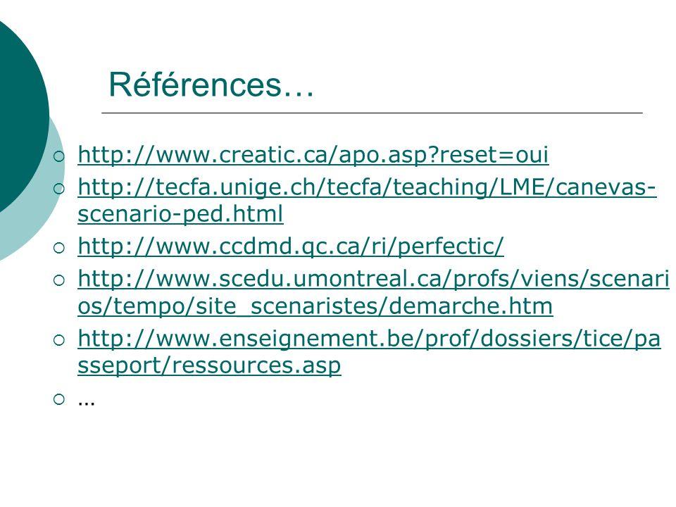 Références… http://www.creatic.ca/apo.asp?reset=oui http://tecfa.unige.ch/tecfa/teaching/LME/canevas- scenario-ped.html http://tecfa.unige.ch/tecfa/teaching/LME/canevas- scenario-ped.html http://www.ccdmd.qc.ca/ri/perfectic/ http://www.scedu.umontreal.ca/profs/viens/scenari os/tempo/site_scenaristes/demarche.htm http://www.scedu.umontreal.ca/profs/viens/scenari os/tempo/site_scenaristes/demarche.htm http://www.enseignement.be/prof/dossiers/tice/pa sseport/ressources.asp http://www.enseignement.be/prof/dossiers/tice/pa sseport/ressources.asp …