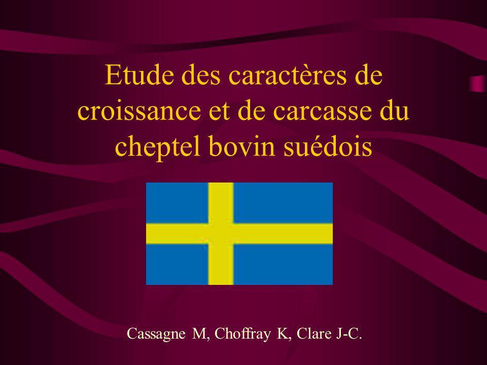 Etude des caractères de croissance et de carcasse du cheptel bovin suédois Cassagne M, Choffray K, Clare J-C.