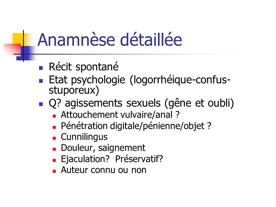 Anamnèse détaillée Récit spontané Etat psychologie (logorrhéique-confus- stuporeux) Q? agissements sexuels (gêne et oubli) Attouchement vulvaire/anal
