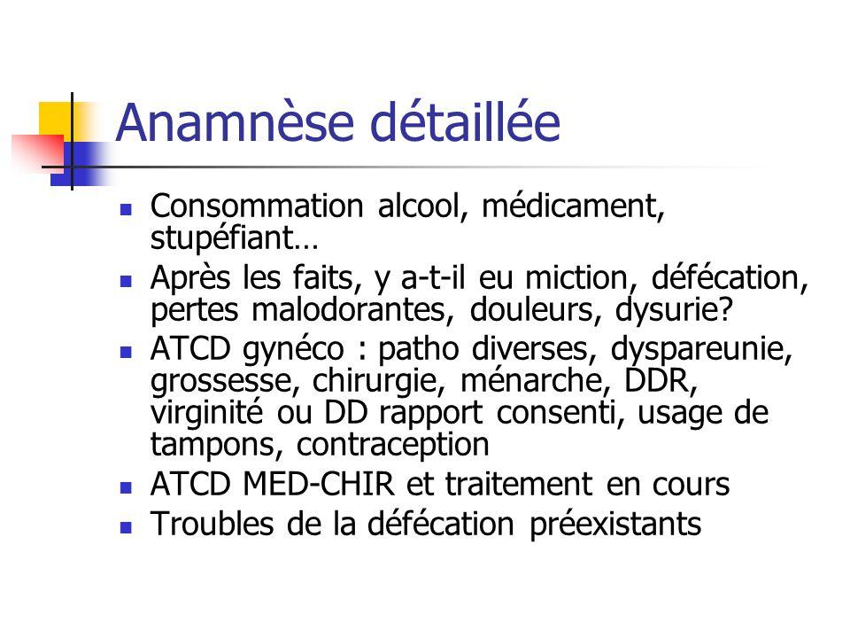 Anamnèse détaillée Consommation alcool, médicament, stupéfiant… Après les faits, y a-t-il eu miction, défécation, pertes malodorantes, douleurs, dysur