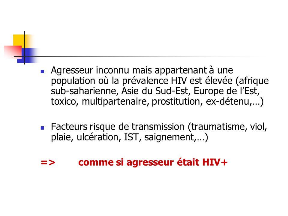 Agresseur inconnu mais appartenant à une population où la prévalence HIV est élevée (afrique sub-saharienne, Asie du Sud-Est, Europe de lEst, toxico,
