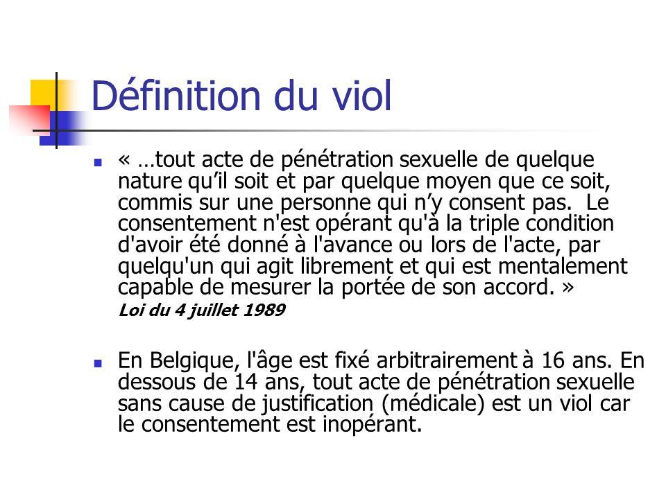 Définition du viol « …tout acte de pénétration sexuelle de quelque nature quil soit et par quelque moyen que ce soit, commis sur une personne qui ny c