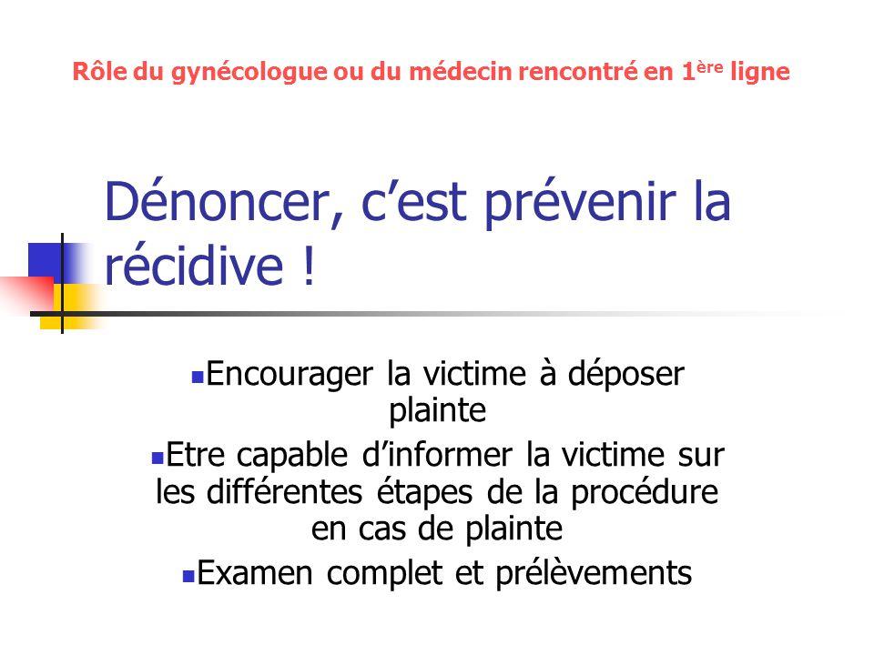 Dénoncer, cest prévenir la récidive ! Encourager la victime à déposer plainte Etre capable dinformer la victime sur les différentes étapes de la procé
