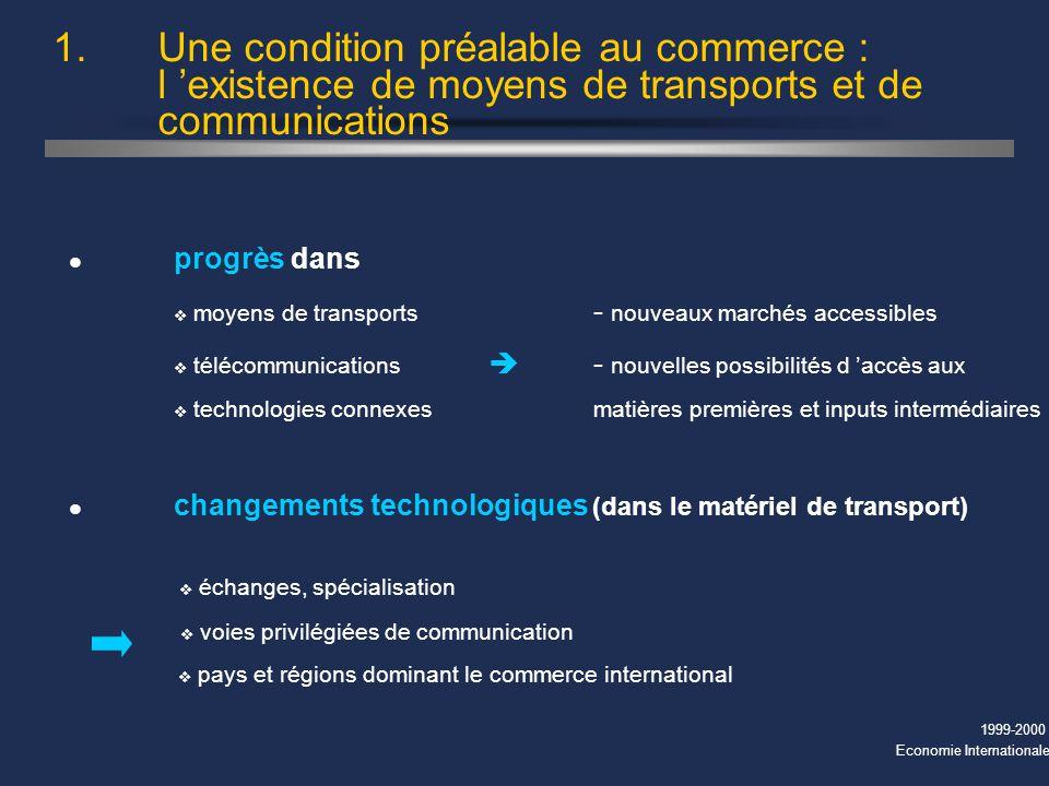 1999-2000 Economie Internationale l progrès dans v moyens de transports - nouveaux marchés accessibles v télécommunications - nouvelles possibilités d accès aux v technologies connexesmatières premières et inputs intermédiaires 1.