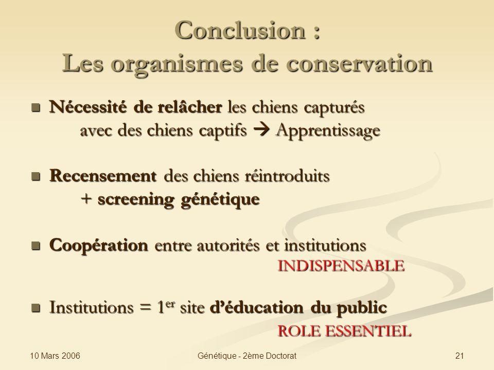 10 Mars 2006 21Génétique - 2ème Doctorat Conclusion : Les organismes de conservation Nécessité de relâcher les chiens capturés Nécessité de relâcher l