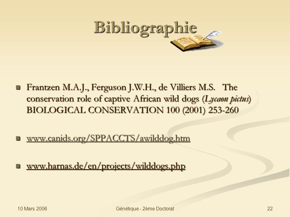 10 Mars 2006 22Génétique - 2ème Doctorat Bibliographie Frantzen M.A.J., Ferguson J.W.H., de Villiers M.S. The conservation role of captive African wil