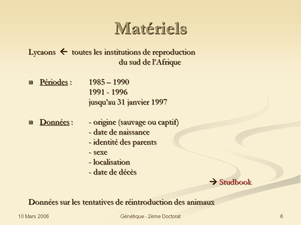 10 Mars 2006 6Génétique - 2ème Doctorat Matériels Lycaons toutes les institutions de reproduction du sud de lAfrique Périodes : 1985 – 1990 Périodes :