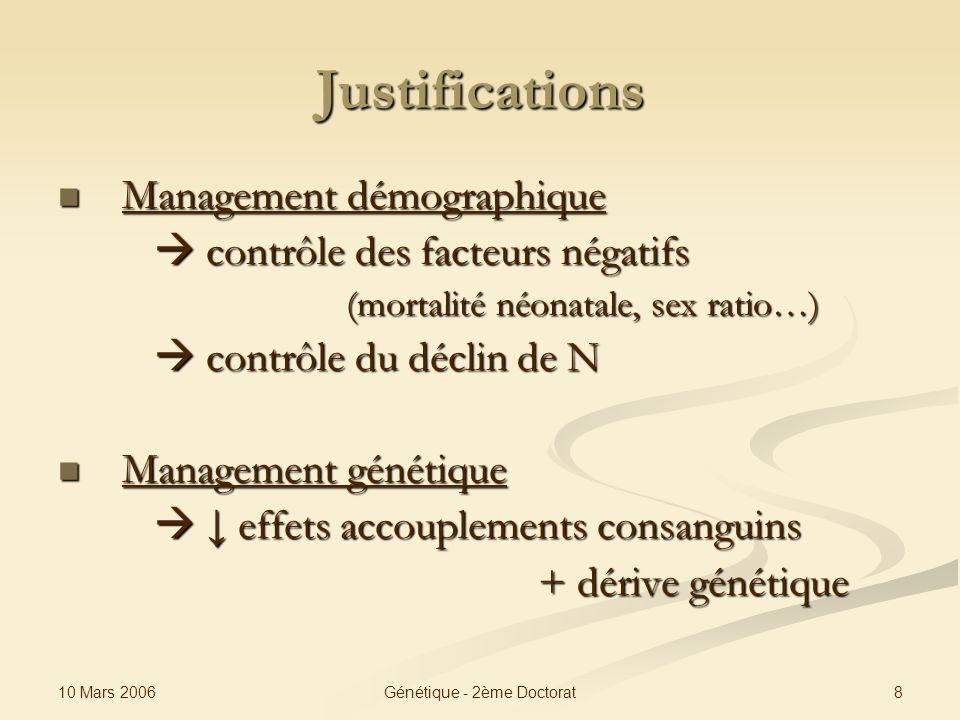 10 Mars 2006 8Génétique - 2ème Doctorat Justifications Management démographique Management démographique contrôle des facteurs négatifs contrôle des f