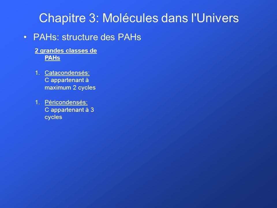 PAHs: structure des PAHs 2 grandes classes de PAHs 1.Catacondensés: C appartenant à maximum 2 cycles 1.Péricondensés: C appartenant à 3 cycles Chapitr
