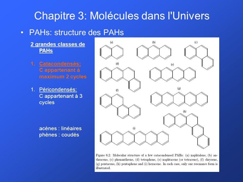 PAHs: structure des PAHs 2 grandes classes de PAHs 1.Catacondensés: C appartenant à maximum 2 cycles 1.Péricondensés: C appartenant à 3 cycles acènes