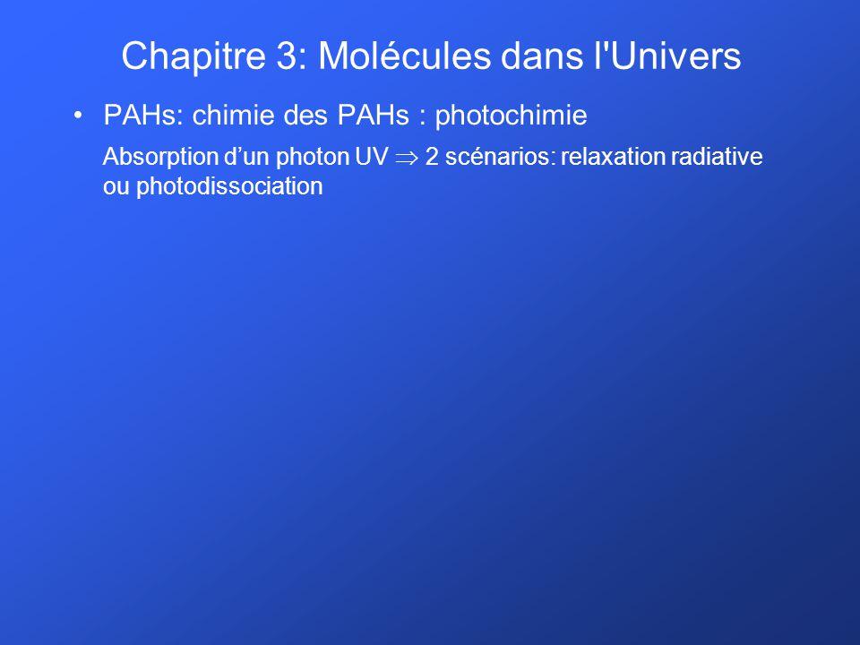 PAHs: chimie des PAHs : photochimie Absorption dun photon UV 2 scénarios: relaxation radiative ou photodissociation Chapitre 3: Molécules dans l'Unive