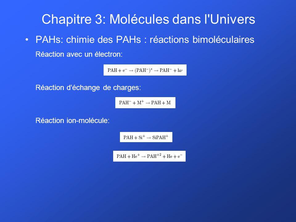 PAHs: chimie des PAHs : réactions bimoléculaires Réaction avec un électron: Réaction déchange de charges: Réaction ion-molécule: Chapitre 3: Molécules