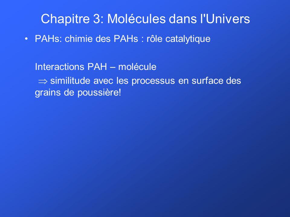 PAHs: chimie des PAHs : rôle catalytique Interactions PAH – molécule similitude avec les processus en surface des grains de poussière! Chapitre 3: Mol