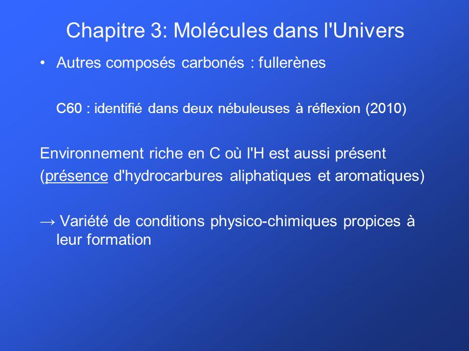 Autres composés carbonés : fullerènes C60 : identifié dans deux nébuleuses à réflexion (2010) Environnement riche en C où l'H est aussi présent (prése