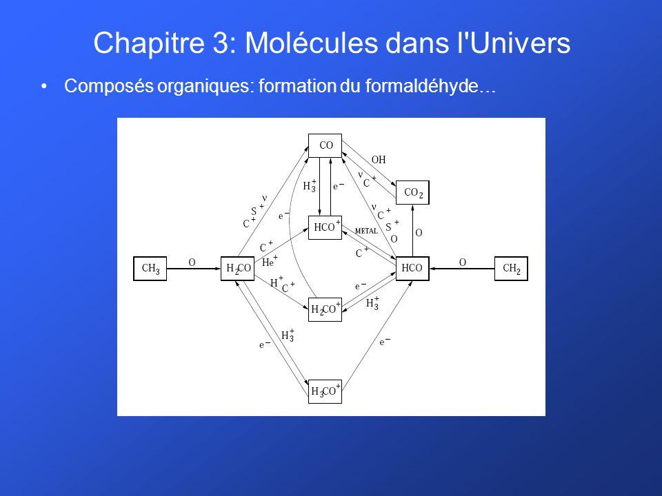 Composés organiques: formation du formaldéhyde… Chapitre 3: Molécules dans l'Univers