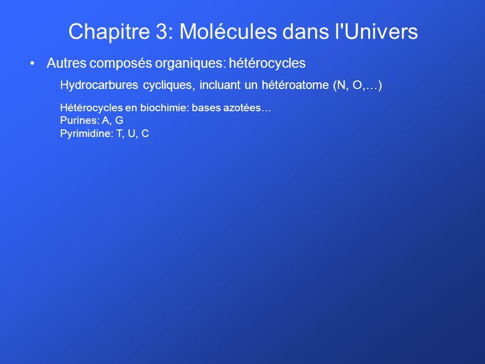 Autres composés organiques: hétérocycles Hydrocarbures cycliques, incluant un hétéroatome (N, O,…) Hétérocycles en biochimie: bases azotées… Purines: