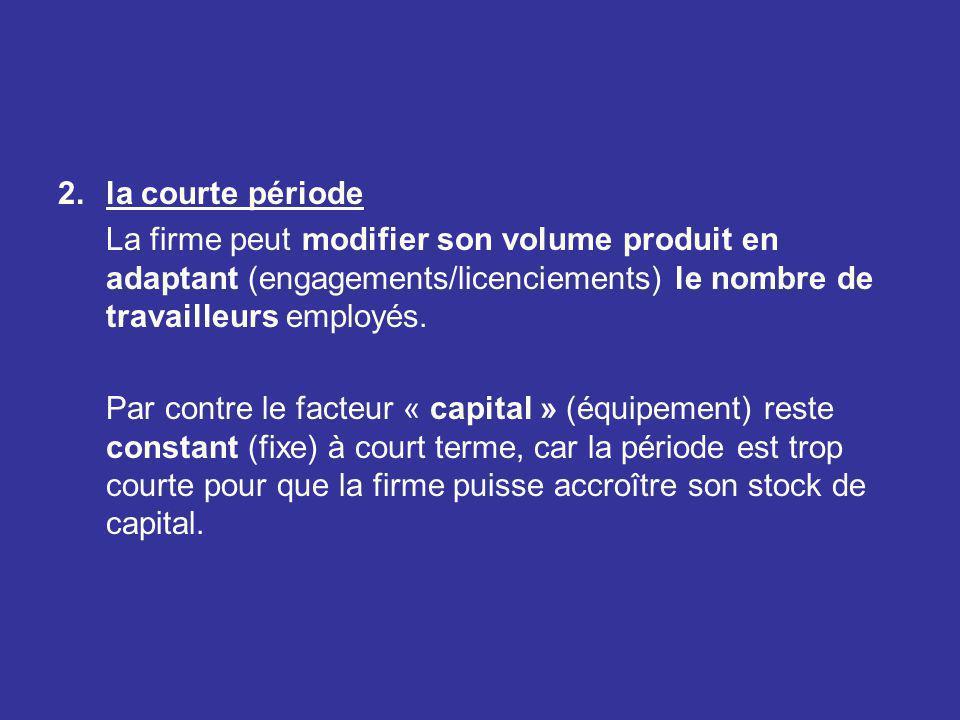 2.la courte période La firme peut modifier son volume produit en adaptant (engagements/licenciements) le nombre de travailleurs employés. Par contre l