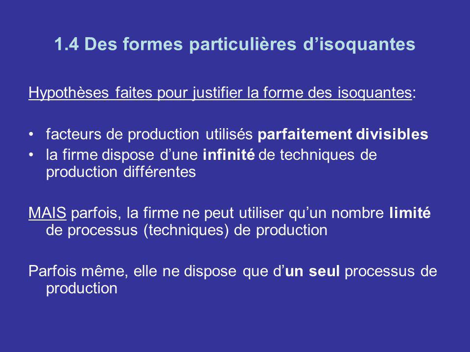 1.4 Des formes particulières disoquantes Hypothèses faites pour justifier la forme des isoquantes: facteurs de production utilisés parfaitement divisi
