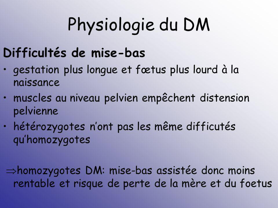 Physiologie du DM Difficultés de mise-bas gestation plus longue et fœtus plus lourd à la naissance muscles au niveau pelvien empêchent distension pelv