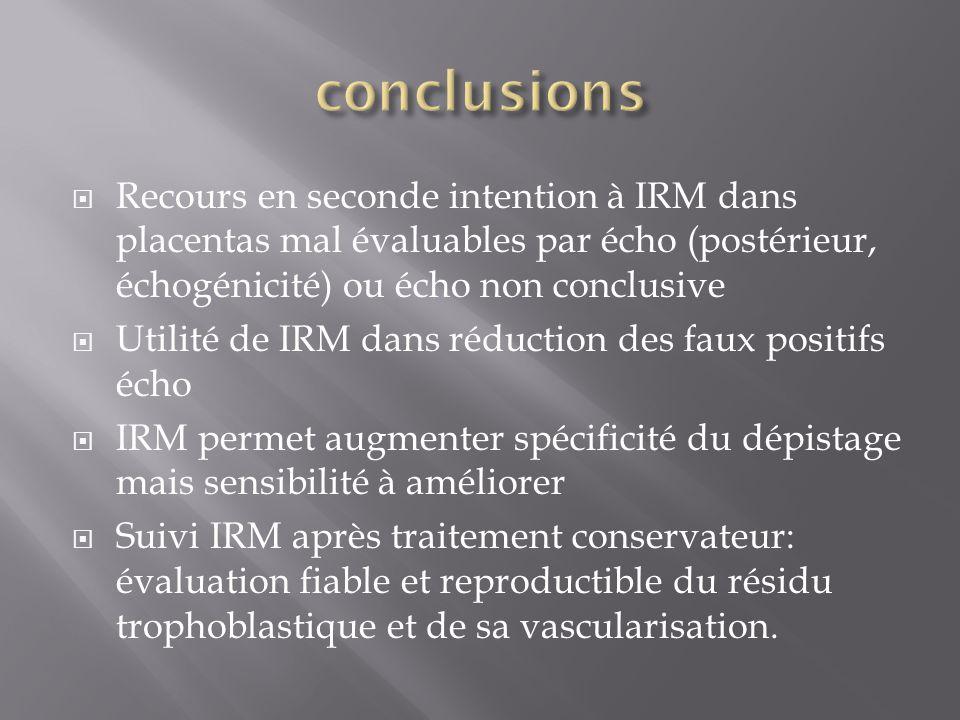 Recours en seconde intention à IRM dans placentas mal évaluables par écho (postérieur, échogénicité) ou écho non conclusive Utilité de IRM dans réduct