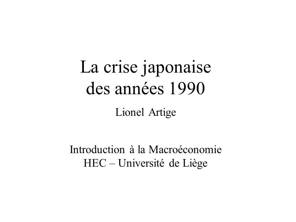 La crise japonaise des années 90 1980 - 19911991 - 2002 Taux de croissance annuel moyen du PIB par habitant (prix constants) 3,6 %0,5 % Taux dinflation annuel moyen2,5 %0,2 % Source : FMI, World Economic Outlook, octobre 2009