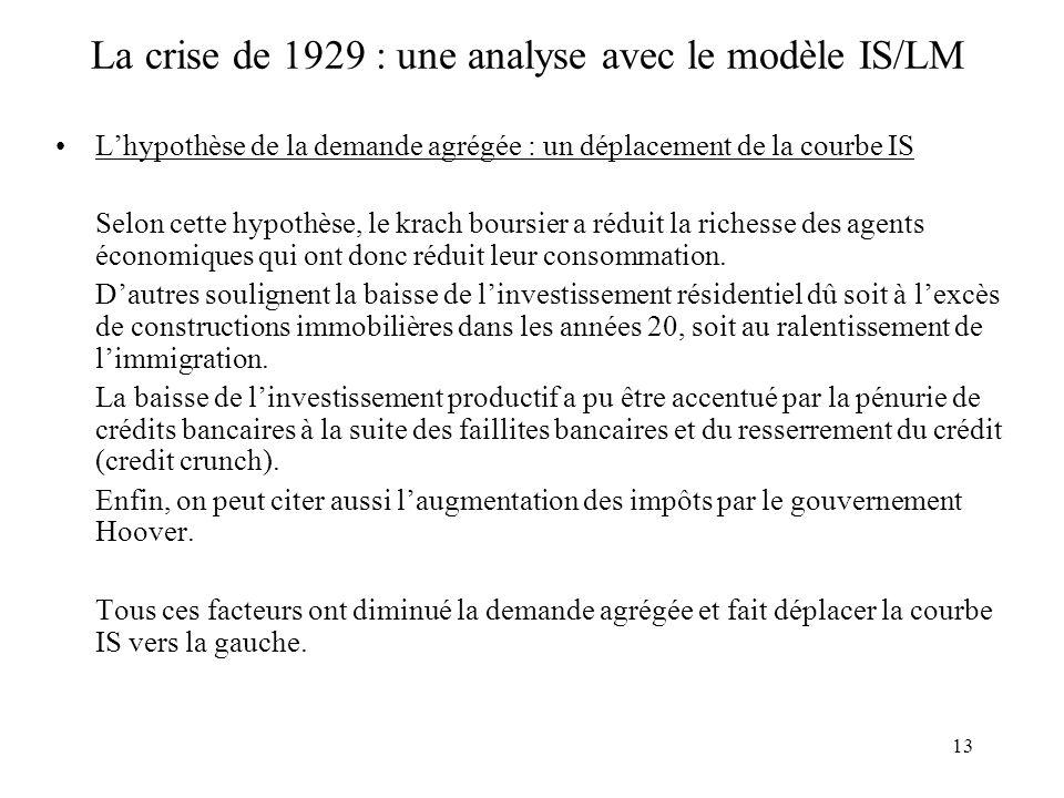 13 La crise de 1929 : une analyse avec le modèle IS/LM Lhypothèse de la demande agrégée : un déplacement de la courbe IS Selon cette hypothèse, le krach boursier a réduit la richesse des agents économiques qui ont donc réduit leur consommation.