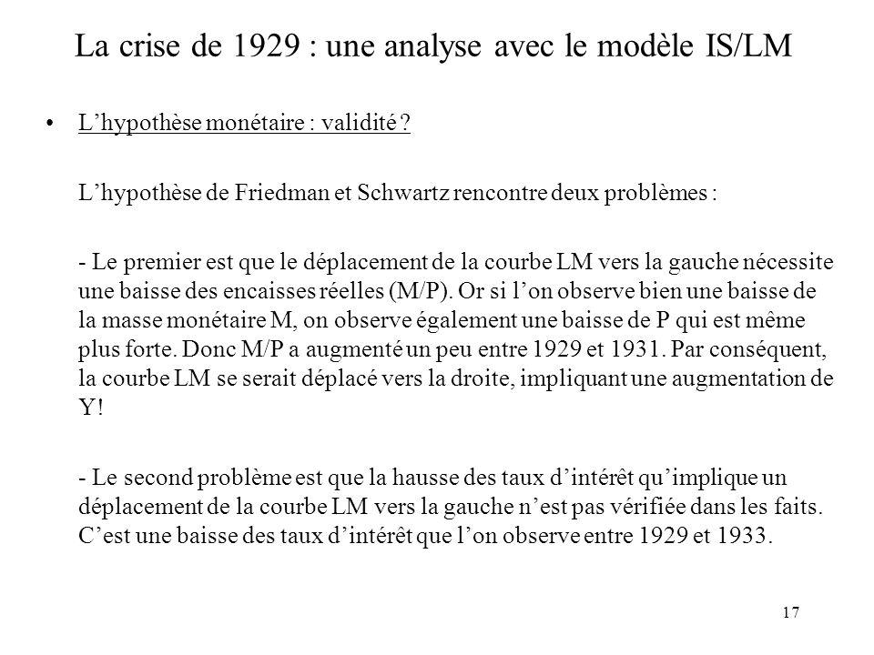 17 La crise de 1929 : une analyse avec le modèle IS/LM Lhypothèse monétaire : validité .