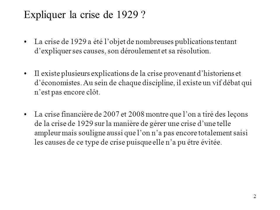 2 Expliquer la crise de 1929 .