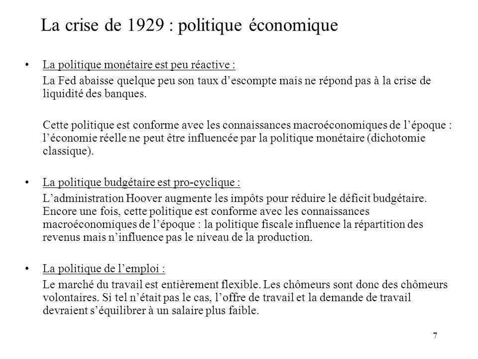 7 La crise de 1929 : politique économique La politique monétaire est peu réactive : La Fed abaisse quelque peu son taux descompte mais ne répond pas à la crise de liquidité des banques.