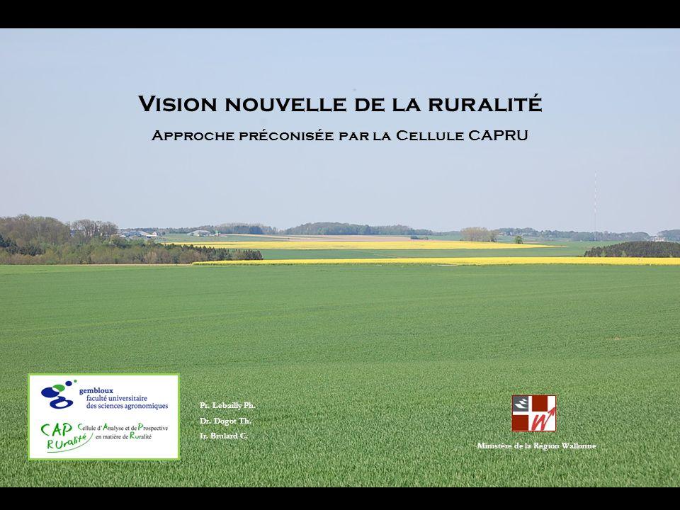 Vision nouvelle de la ruralité Approche préconisée par la Cellule CAPRU Pr. Lebailly Ph. Dr. Dogot Th. Ir. Brulard C. Ministère de la Région Wallonne