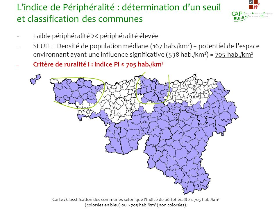 Lindice de Périphéralité : détermination dun seuil et classification des communes - Faible périphéralité >< périphéralité élevée - SEUIL = Densité de