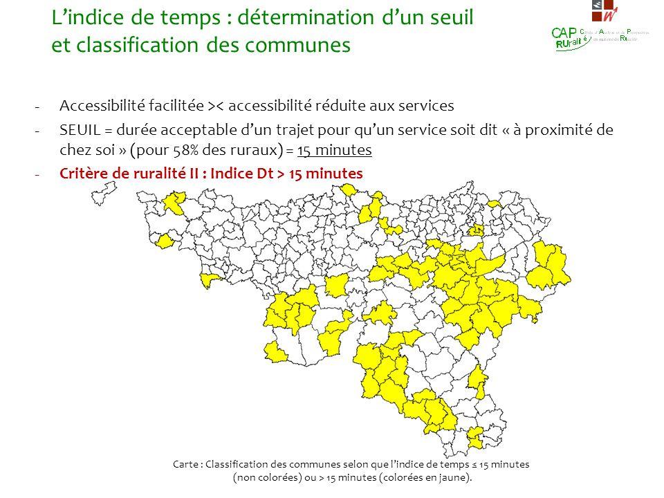 - Accessibilité facilitée >< accessibilité réduite aux services - SEUIL = durée acceptable dun trajet pour quun service soit dit « à proximité de chez
