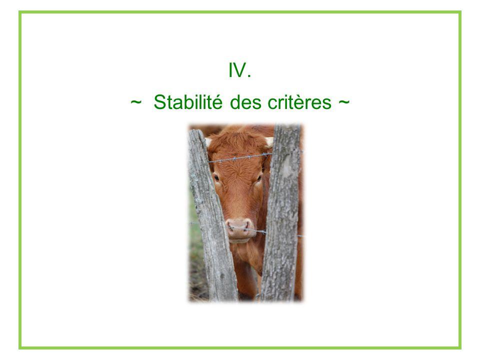IV. ~ Stabilité des critères ~